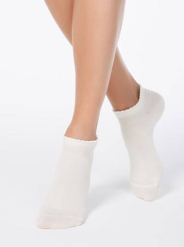 women's cotton socks ACTIVE (anklets, picot) 12С-45СП, размер 23, цвет cappuccino