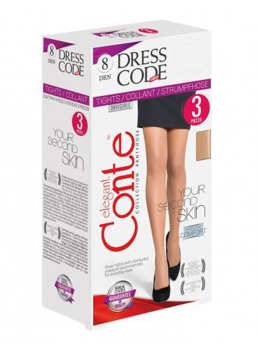 Women's polyamide tights DRESS CODE 8 (3 pieces) 14С-17СПD, размер 2, цвет bronz