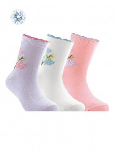 children's cotton socks TIP-TOP (strasses, lurex) 7С-45СП, размер 22, цвет white