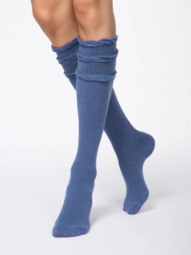 women's cotton knee-highs COMFORT (decorative elastic) 7С-58СП, размер 23, цвет denim