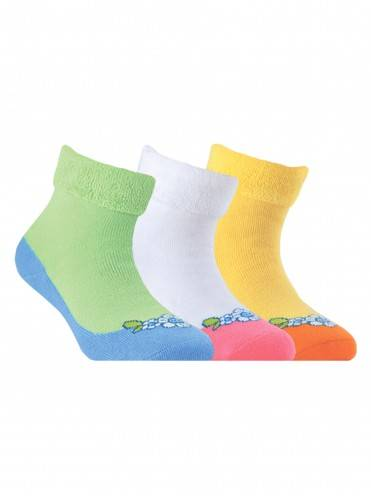 Children's cotton socks SOF-TIKI (terry, with lapel) 6С-19СП, размер 16, цвет white-light pink