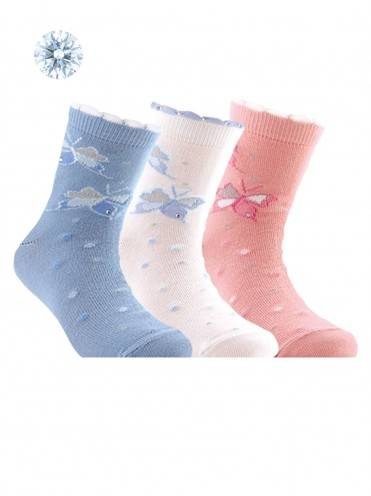 children's cotton socks TIP-TOP (strasses, lurex) 7С-45СП, размер 18, цвет light pink