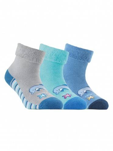Children's cotton socks SOF-TIKI (terry, with lapel) 6С-19СП, размер 16, цвет turquoise