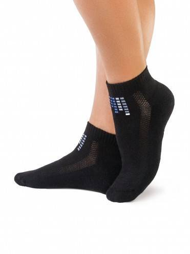 women's cotton socks ACTIVE (anklets, terry foot) 7С-41СП, размер 23, цвет black
