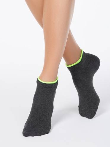 women's cotton socks ACTIVE (decorative elastic) 12С-32СП, размер 23, цвет dark grey