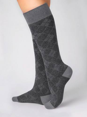 women's cotton knee-highs CLASSIC 7С-59СП, размер 25, цвет grey