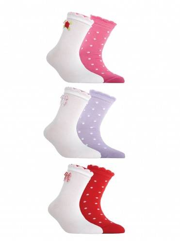 children's cotton socks TIP-TOP (2 pairs, picot) 7С-90СП,7С-100СП, размер 12, цвет white-red