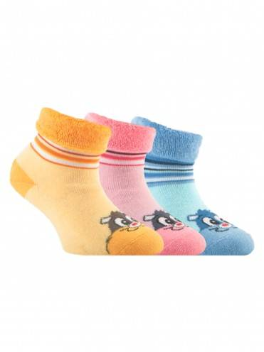 Children's cotton socks SOF-TIKI (terry, with lapel) 6С-19СП, размер 14, цвет light blue