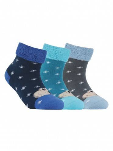 children's cotton socks SOF-TIKI (terry, with lapel) 6С-19СП, размер 16, цвет navy