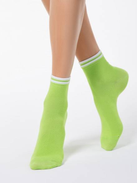 women's cotton socks CLASSIC (decorative elastic) 7С-32СП, размер 23, цвет lettuce green