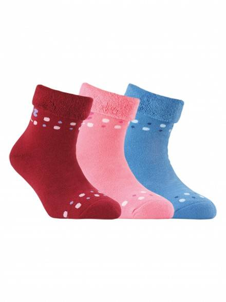 children's cotton socks SOF-TIKI (terry, with lapel) 6С-19СП, размер 18, цвет wine-coloured