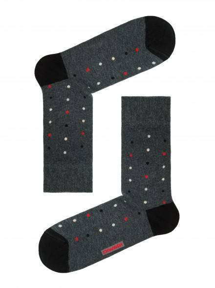 men's socks HAPPY (with pattern) 15С-23СП, размер 25, цвет dark grey-lettuce green