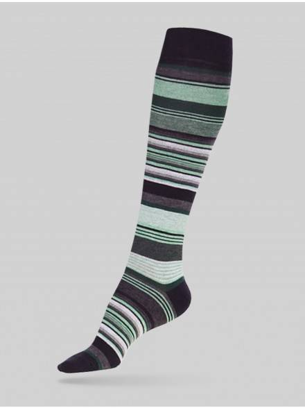 women's cotton knee-highs COMFORT (melange) 7С-60СП, размер 23, цвет light green