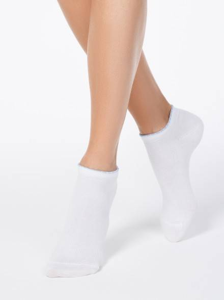 women's cotton socks ACTIVE (anklets, picot) 12С-45СП, размер 23, цвет white-blue