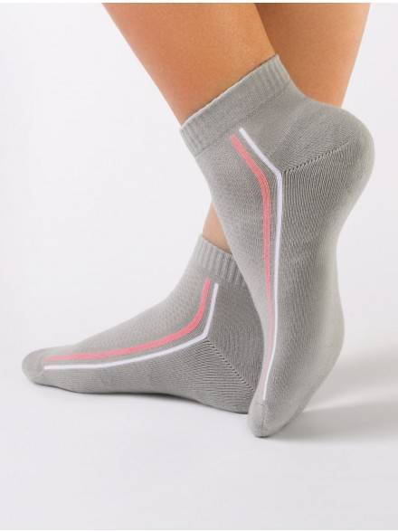 women's cotton socks ACTIVE (anklets, terry foot) 7С-41СП, размер 23, цвет grey