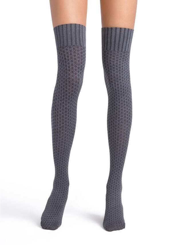 Women's thigh high socks CONTE ELEGANT LORNA, s.23-25, grafit - 1