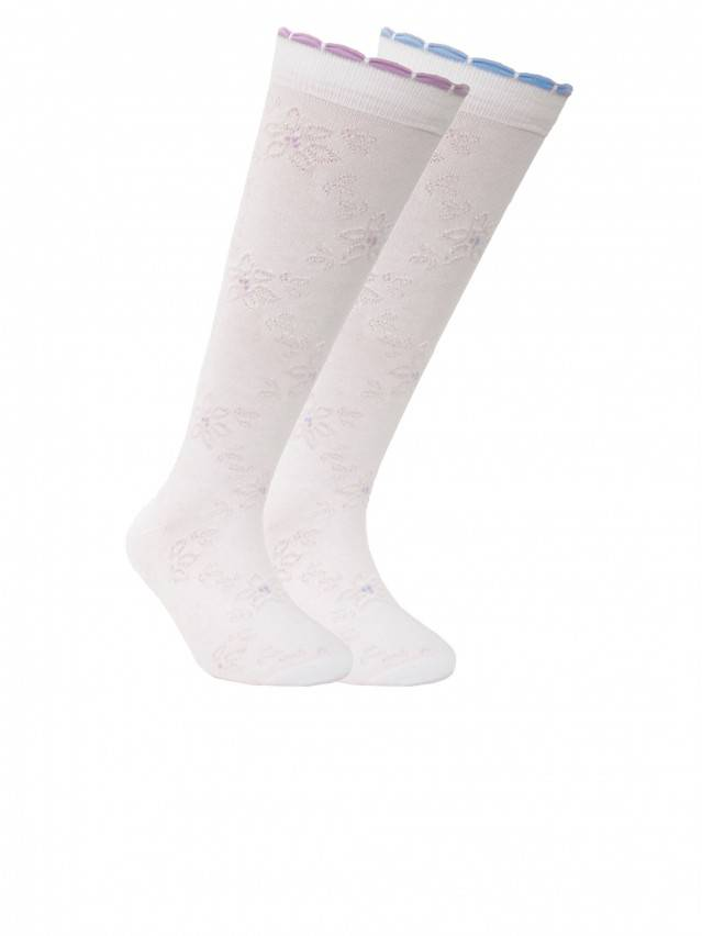 Children's knee high socks CONTE-KIDS BRAVO, s.18, 032 white-lilac - 1