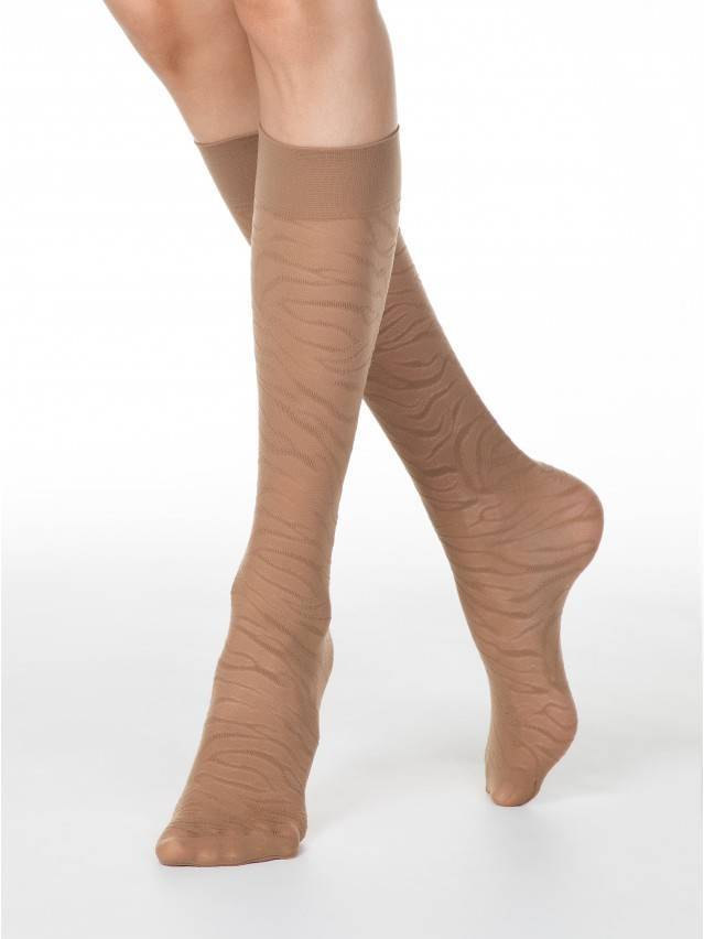 Women's knee high socks CONTE ELEGANT SAHARA, s.23-25, bronz - 1