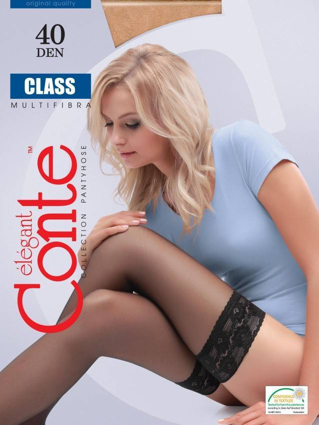 Women's stockings CONTE ELEGANT CLASS 40, s.23-25 (1/2),natural - 2