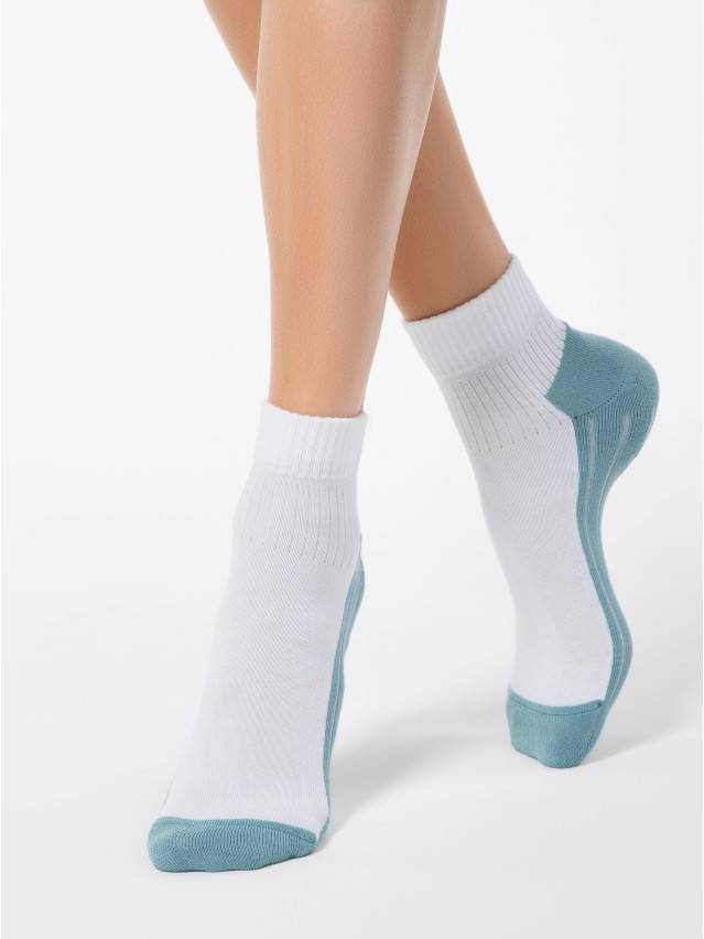 Women's socks CONTE ELEGANT ACTIVE, s.23, 026 white-grey-turquoise - 1