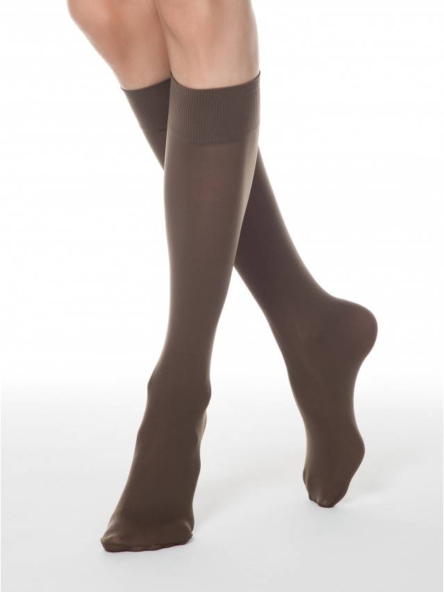 Women's knee high socks CONTE ELEGANT MICROFIBRA 50 (1 pair),envelope, s.23-25, shade - 1