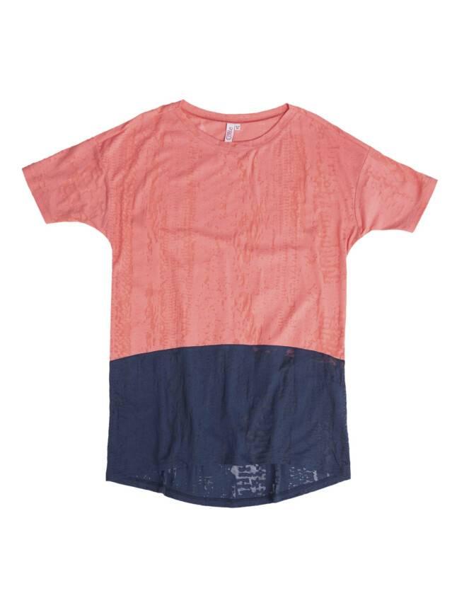 Women's polo neck shirt CONTE ELEGANT LD 516, s.158,164-100, dark blue-coral - 1