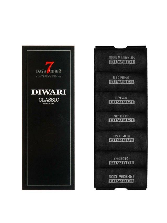 Men's socks DiWaRi CLASSIC '7 days' (7 pairs),s. 40-41, 100 black - 2