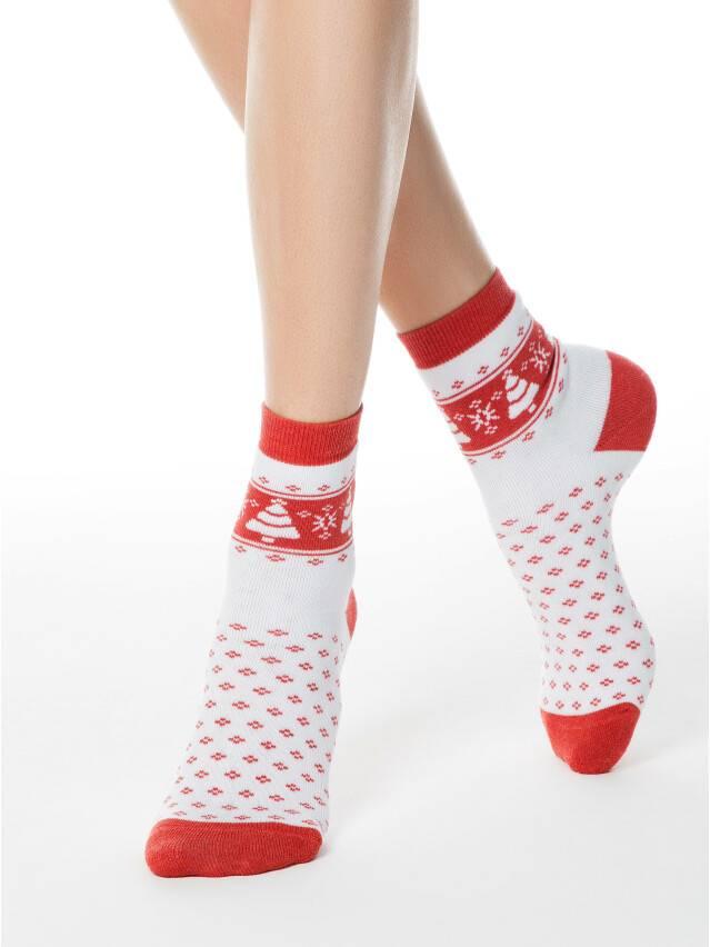 Women's socks CONTE ELEGANT COMFORT, s.23, 080 white-red - 1