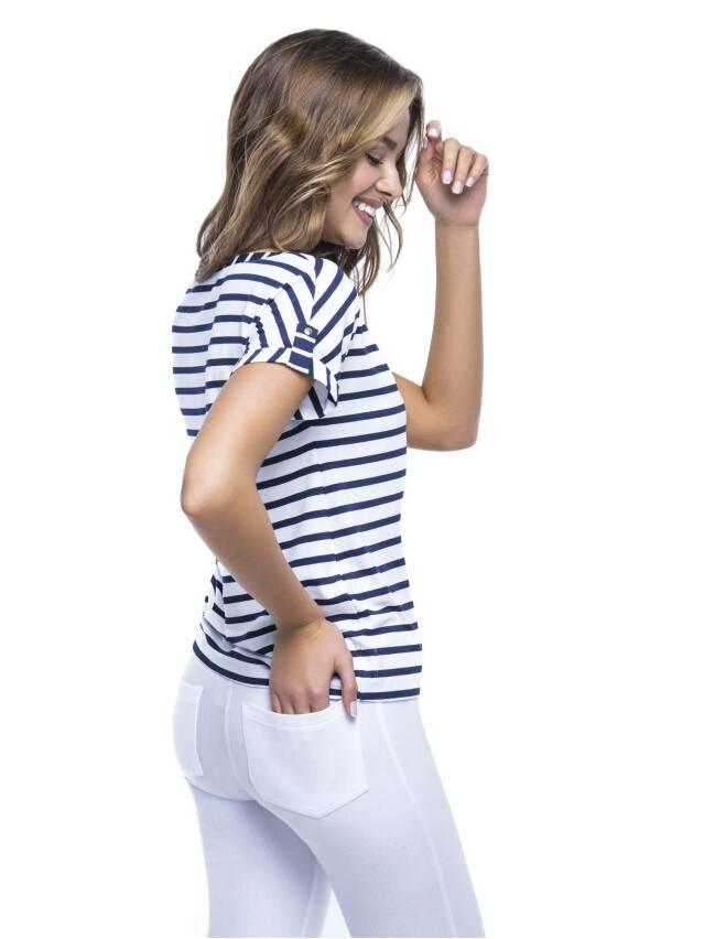 Women's polo neck shirt CONTE ELEGANT LD 504, s.170,176-84, white-blue - 2