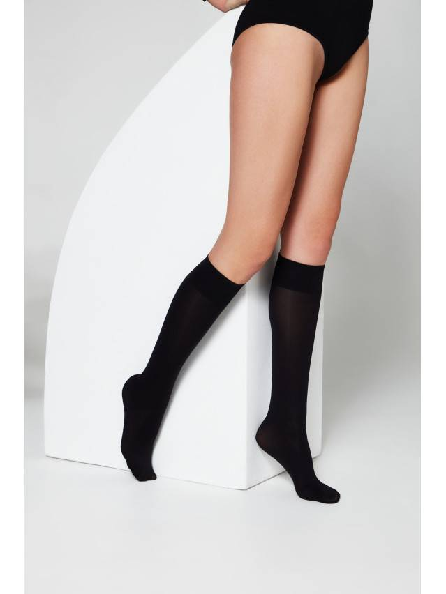 Women's knee high socks CONTE ELEGANT MICROFIBRA 50 (1 pair),envelope, s.23-25, nero - 1