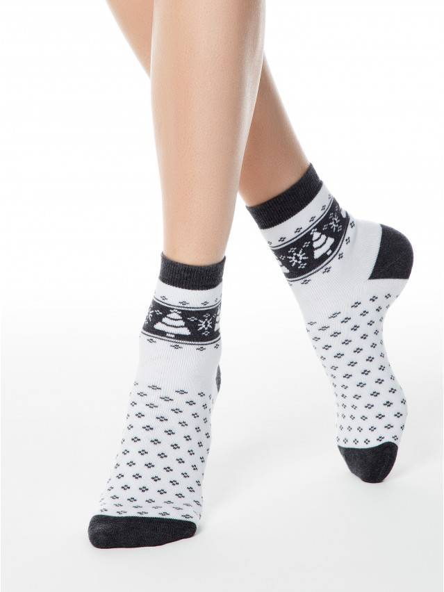 Women's socks CONTE ELEGANT COMFORT, s.23, 080 white-dark grey - 1