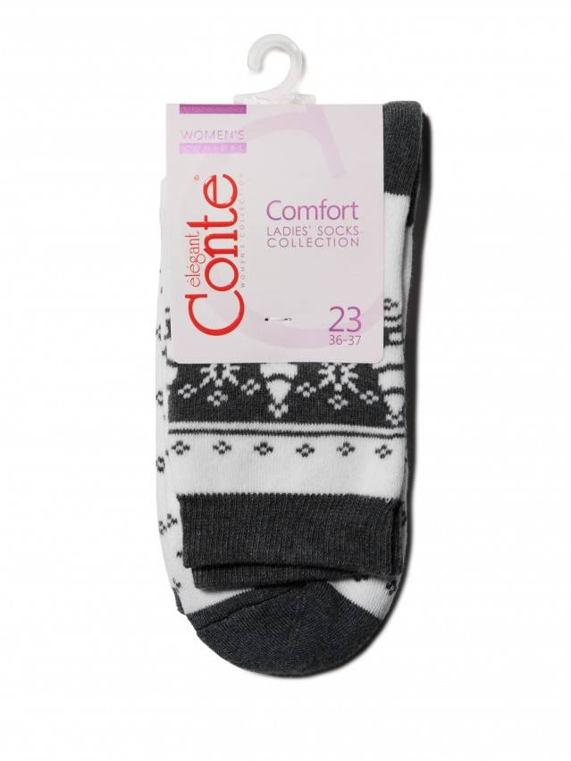 Women's socks CONTE ELEGANT COMFORT, s.23, 080 white-dark grey - 3