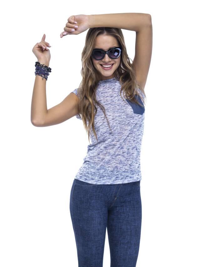 Women's polo neck shirt CONTE ELEGANT LD 503, s.158,164-100, denim - 1