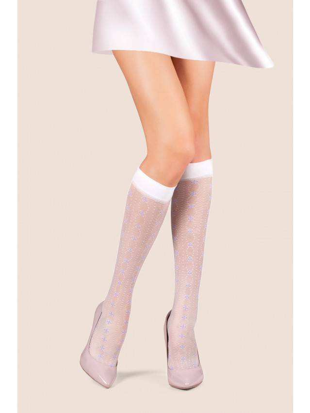 Women's knee high socks CONTE ELEGANT FIORA, s.23-25, bianco - 1