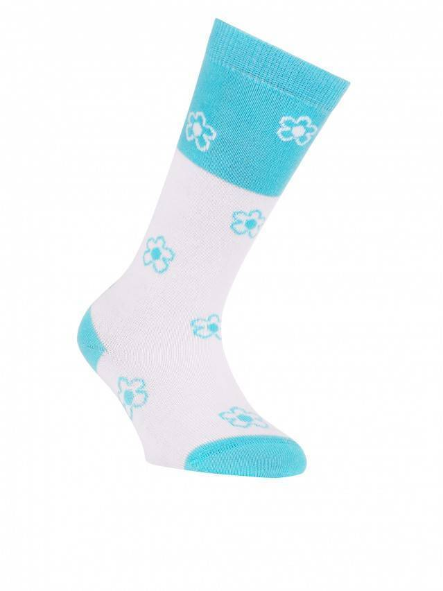 Children's knee high socks CONTE-KIDS TIP-TOP, s.14, 041 white-turquoise - 1