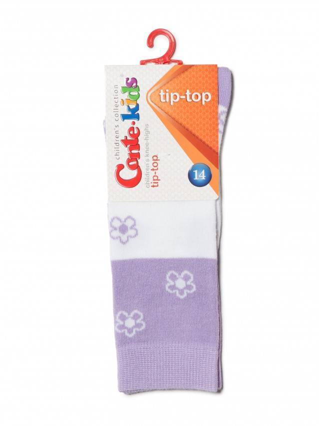 Children's knee high socks CONTE-KIDS TIP-TOP, s.14, 041 white-lilac - 2