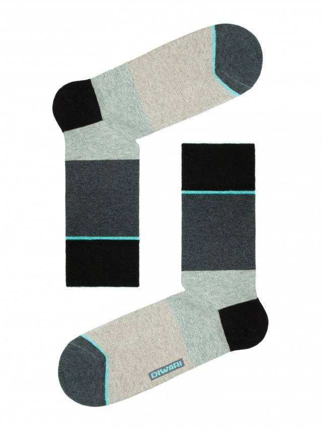 Men's socks DiWaRi HAPPY, s. 40-41, 033 dark grey-turquoise - 1