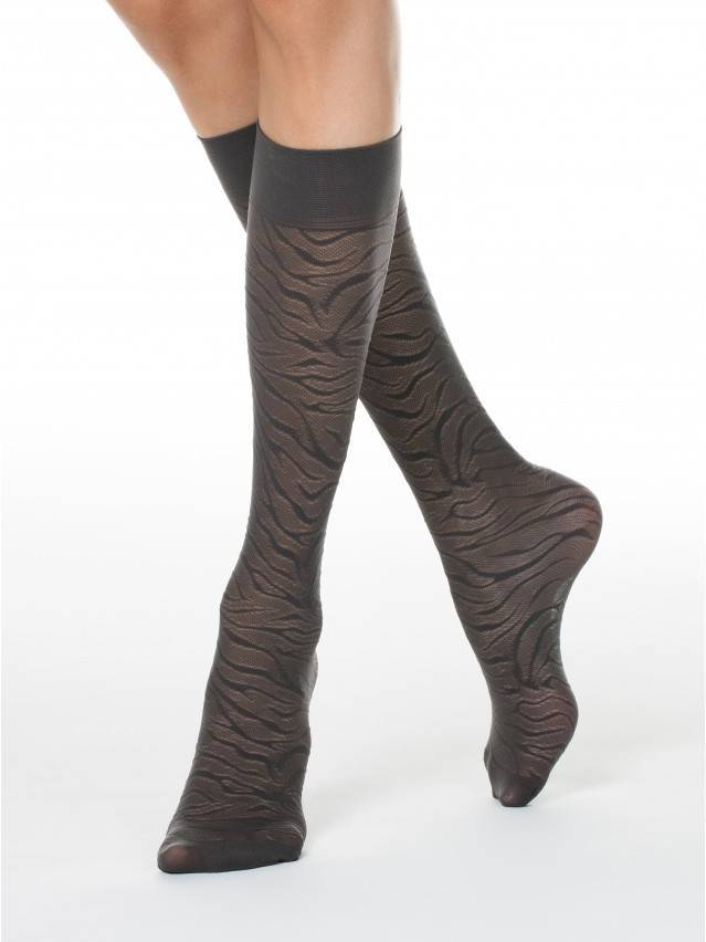 Women's knee high socks CONTE ELEGANT SAHARA, s.23-25, grafit - 1