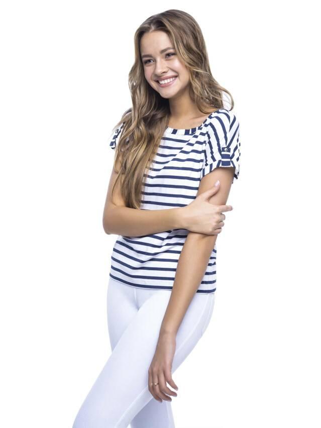 Women's polo neck shirt CONTE ELEGANT LD 504, s.170,176-84, white-blue - 3