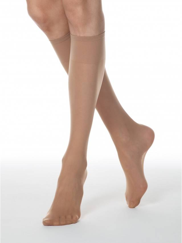Women's knee high socks CONTE ELEGANT TENSION SOFT 40 (1 pair),s.23-25, natural - 1