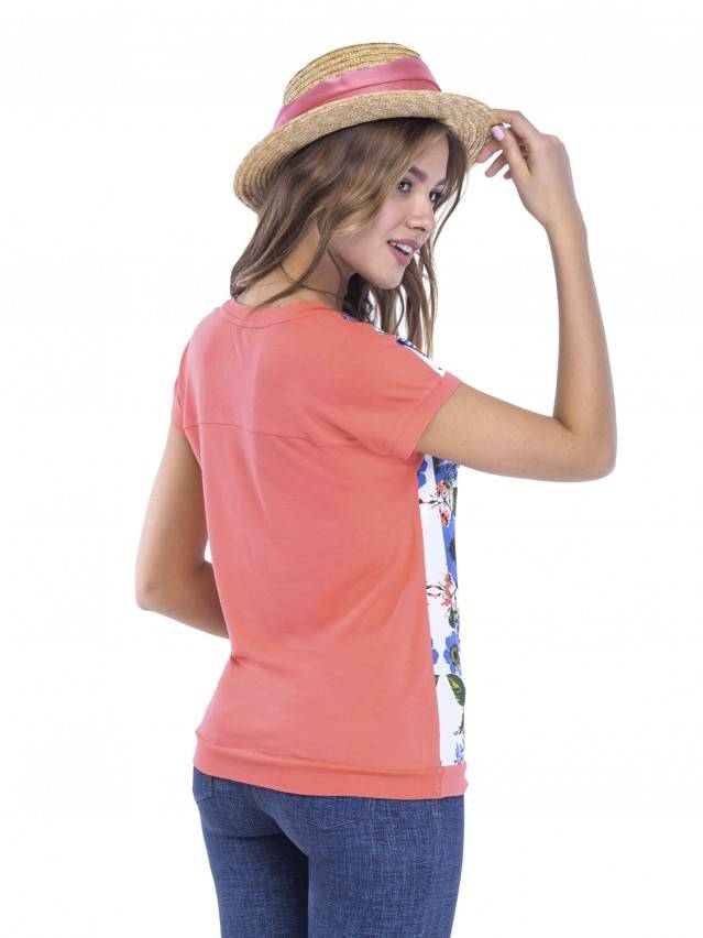 Women's polo neck shirt CONTE ELEGANT LD 505, s.158,164-100, coral red - 3