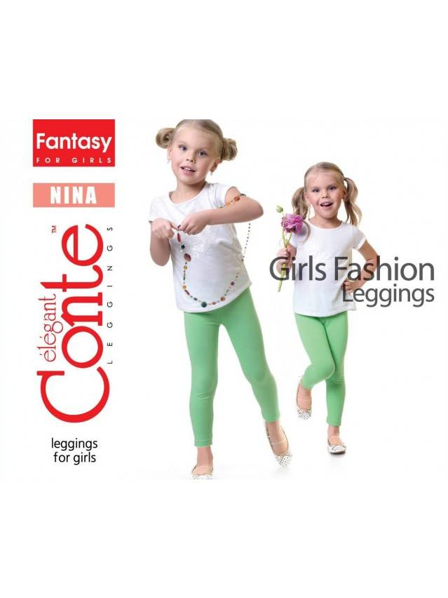 Leggings for girl CONTE ELEGANT NINA, s.110,116-56, green - 1