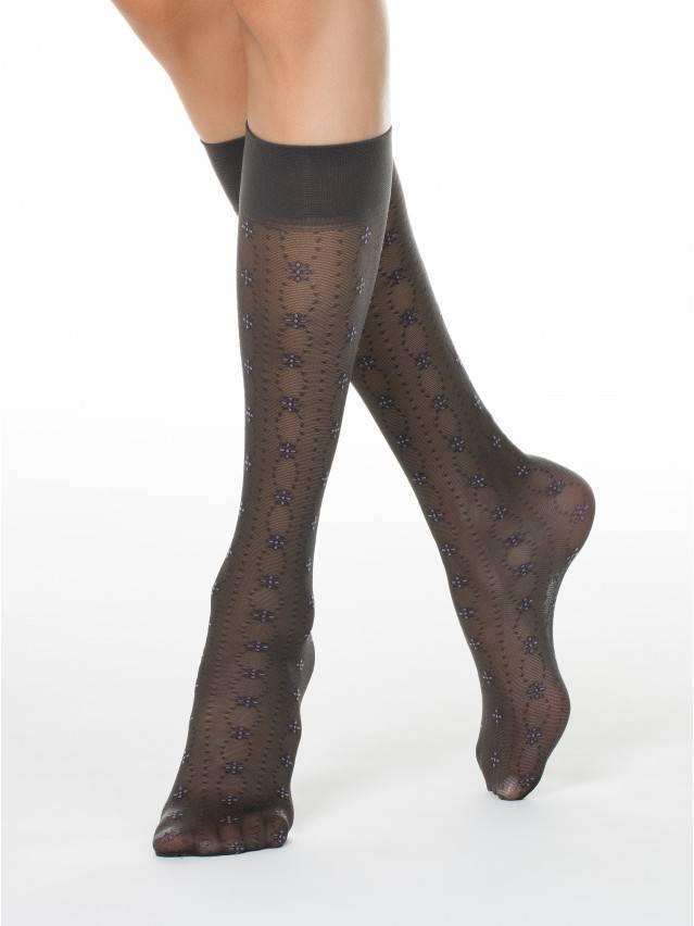 Women's knee high socks CONTE ELEGANT FIORA, s.23-25, grafit - 1