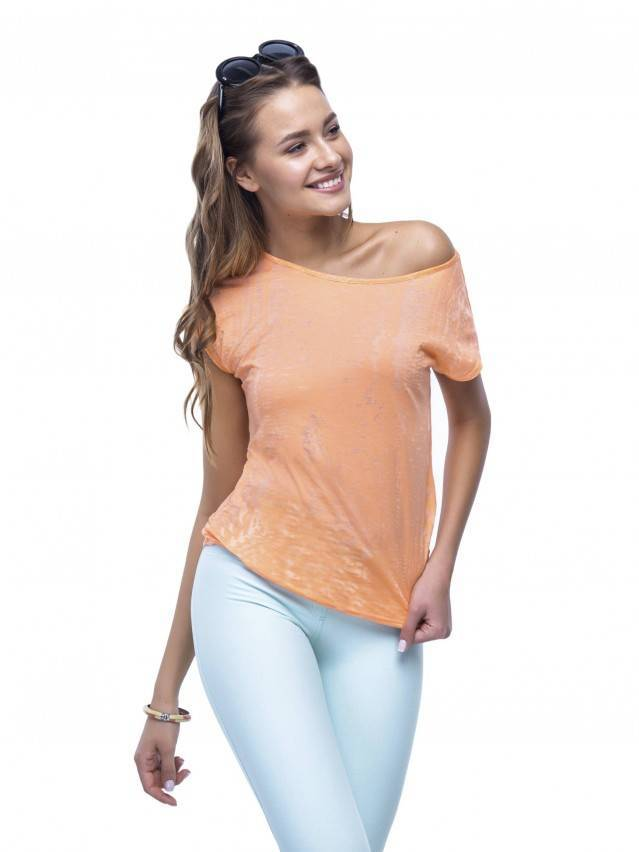 Women's polo neck shirt CONTE ELEGANT LD 511, s.158,164-100, orange - 3