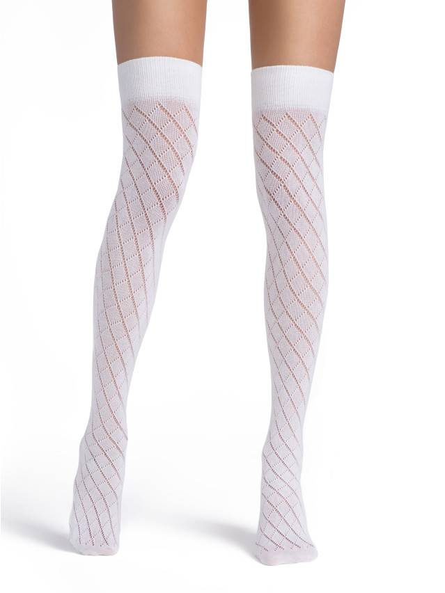 Women's thigh high socks CONTE ELEGANT BIS, s.23-25, bianco - 1