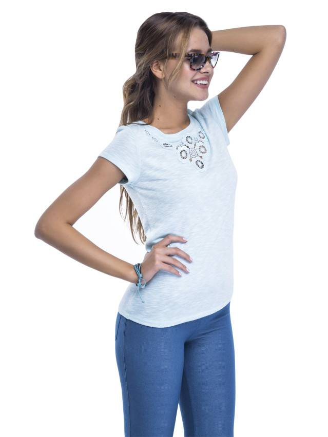 Women's polo neck shirt CONTE ELEGANT LD 498, s.158,164-100, blue - 3