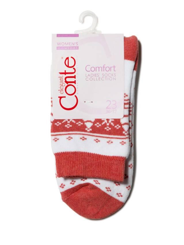 Women's socks CONTE ELEGANT COMFORT, s.23, 080 white-red - 3