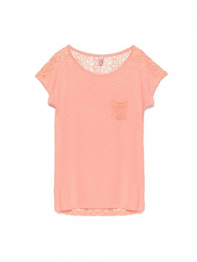 Women's polo neck shirt CONTE ELEGANT LD 527, s.158,164-100, peach - 1