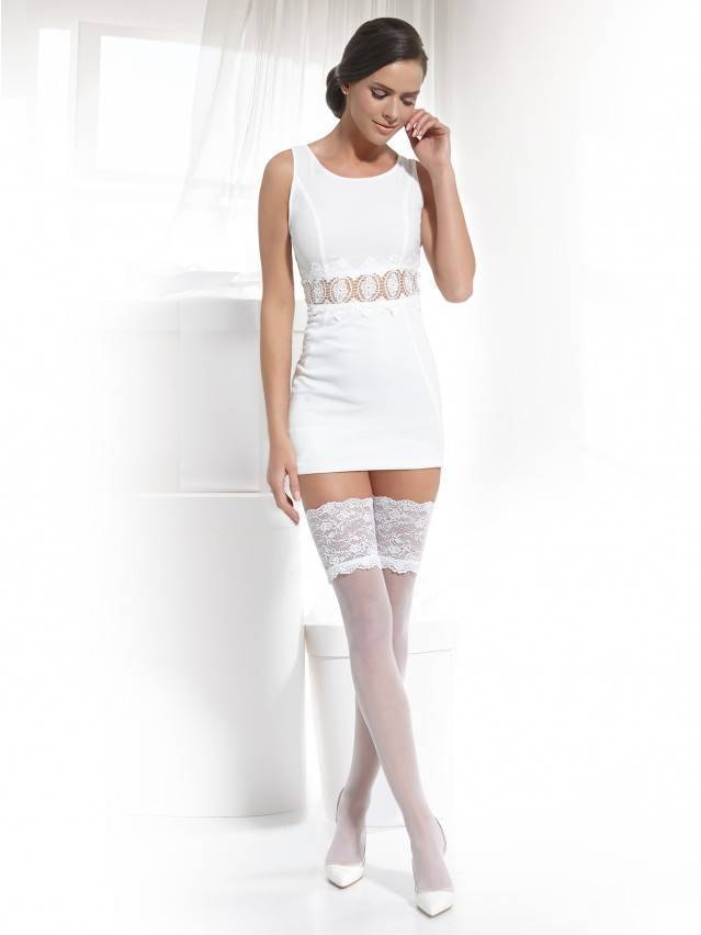 Women's stockings CONTE ELEGANT GRACE, s.23-25 (1/2),bianco - 2