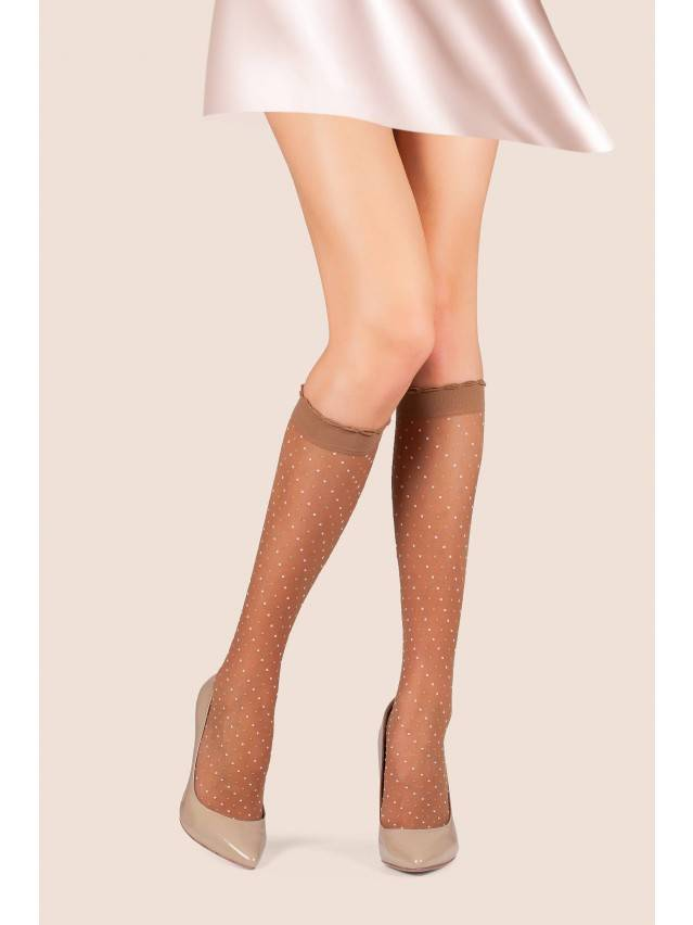 Women's knee high socks CONTE ELEGANT POINT, s.23-25, bronz - 1